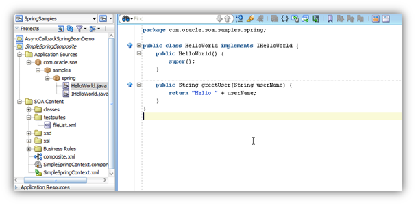 Teaching how to integrate with Java code in Oracle SOA (composites