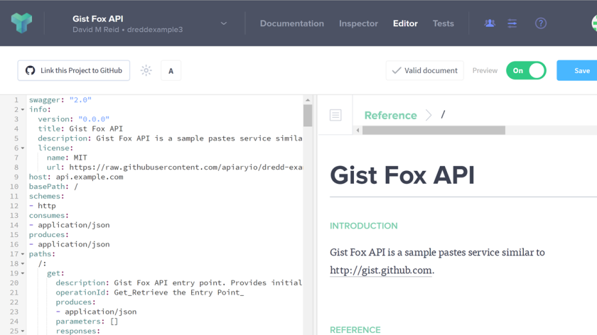 Apiary designed apis tested using dredd redthunder i then pasted the gist fox api content from the api descriptionyml file into my api project malvernweather