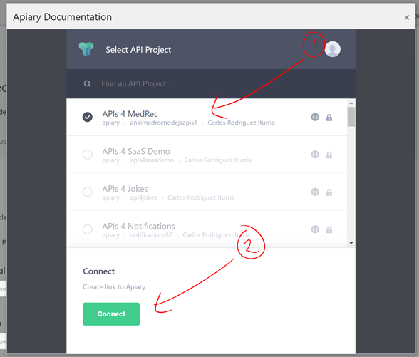 Teaching how to design and secure an api with oracle api platform find the api that you want to link from apiary then click connect malvernweather Images